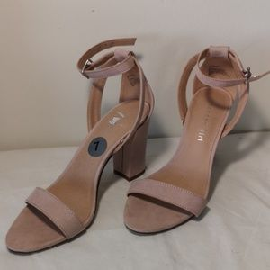 brand new nude pink suede sandal heels size 7